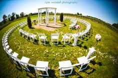 A literal circle of friends and family for the wedding ceremony. Ryan Woodall Photography.