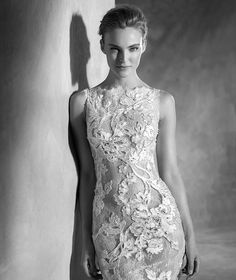 NESTA - Tulle and embroidery wedding dress, with bateau neckline and gemstones | Pronovias