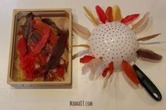 Put feathers in holes of a colander for a simple Thanksgiving activity to work on fine motor skills. Thanksgiving Activities For Kids, Fall Preschool, Autumn Activities, Thanksgiving Crafts, Toddler Activities, Motor Activities, Therapy Activities, Toddler Preschool, Fall Crafts