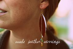 a bit of sunshine: make something monday :: suede feather earrings