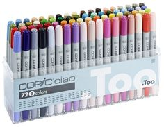 Copic Ciao markers are alcohol based, non-toxic and fast drying. This great set includes 72 colours in a handy clear plastic box that has a slot for each marker. PRODUCT :COPIC PEN SET - 72 COLOURS - SET A. Copic Ciao Set, Copic Ciao Marker, Copic Sketch Markers, Copic Markers 72 Set, Copic Pens, Crayons Pastel, Copic Drawings, Artist Pens, Cute School Supplies