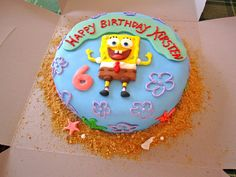 8'' Spongebob birthday cake Birthday Themes For Boys, 2nd Birthday Parties, Girl Birthday, Birthday Cake, Birthday Ideas, Cake Cookies, Cupcake Cakes, Cupcakes, Spongebob Birthday Party