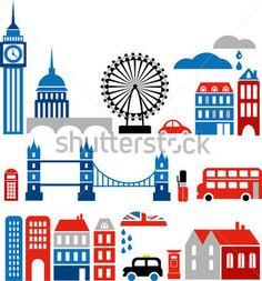 Векторные Иллюстрации Из Лондона С Цветастыми Иконами Routemaster Автобусов И Вехой Зданий стоковый вектор - Clipart.me