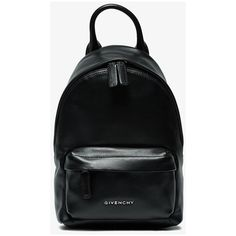 Givenchy Logo Plaque Nano Backpack ($1,090) ❤ liked on Polyvore featuring bags, backpacks, black, leather backpack bag, genuine leather bag, real leather bags, leather bags and day pack backpack