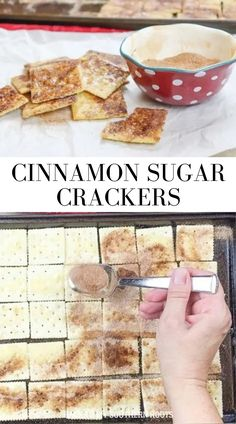 If you're looking for a super inexpensive and delicious snack, you need to make some cinnamon sugar crackers you can't say no to. My mom used to make us cinnamon sugar toast, and it was a delicious dessert. We could hardly wait to take it out of the oven. #crackers #snack #cinnamonsugar Kinds Of Desserts, No Cook Desserts, Homemade Desserts, Great Desserts, Delicious Desserts, Cheesecake Recipes, Cookie Recipes, Snack Recipes, Dessert Recipes