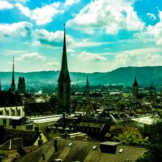 View from ETH My Town, Zurich, Switzerland, Cathedral, Building, Travel, Voyage, Trips, Buildings
