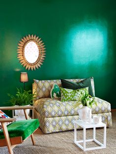 Need to make paint matt. 10 Green + Gold Rooms to Envy This St. Patty's Day via Brit + Co Green Wall, Living Room Green, Decor, Interior Design, Green Rooms, Home Remodeling, Gold Rooms, Home Decor, Living Room Designs
