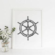 Captains Wheel Art Nautical Print Black White Illustration