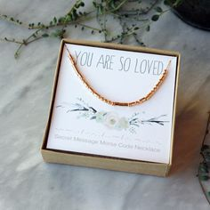Secret Message Morse Code Necklace You Are So Loved Gift for Her Mothers Day Illustrated Card Gift Box Sterling Silver 14k Gold Filled