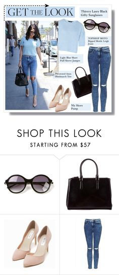 """Get the Look: Selena Gomez"" by that-chic-girl ❤ liked on Polyvore featuring Topshop, Thierry Lasry, Anya Hindmarch, Nly Shoes, GetTheLook and celebstyle"