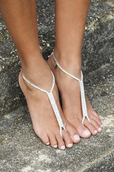 Carmana Barefoot Sandals, Discount code: FSPINTEREST. Wedding shoes, wedding jewellery, diamond barefoot sandals, anklets, silver, rhinestone barefoot sandals, barefoot bride, beach wedding.