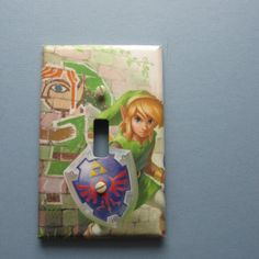 Link with Shield Switch Plate by TheRecycledReader on Etsy, $3.00