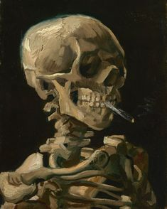 Skull of a Skeleton with Burning Cigarette by Vincent van Gogh Mini Art Print by Art Culture - Without Stand - x Van Gogh Tattoo, Van Gogh Museum, Vincent Van Gogh, Oil On Canvas, Canvas Prints, Art Prints, Van Gogh Arte, Skull Painting, Skull Artwork
