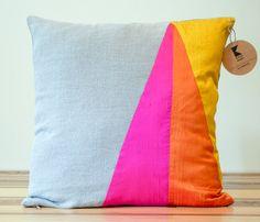 Neon Triangles Geometric Silk and Linen Pillow by KissenStudio