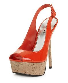 Kamilia Platform Slingback, Bebe Shoes, orange patent. Not sure if cork goes with the autumn feel... too spring/summer?
