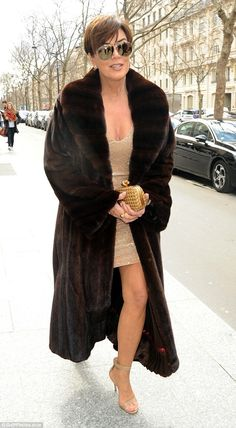 All eyes on me: Kris Jenner, turned heads on Thursday when she stepped out of her Parisian hotel in a lavish fur coat and plunging gold mini dress Estilo Kris Jenner, Kris Jenner Style, Kendall Jenner, Kylie, Mature Fashion, Fur Fashion, Good Looking Women, Date Outfits, Celebrity Style