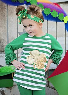 e80978752db6 St. Patrick's Day Gold Sequin Shamrock Striped Icing Shirt for Girls -  Ruffle Sleeve shirt