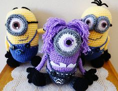crochet , crocheted , minion , minions , yarn , yellow , purple , despicable me 2 , stuffed , plush , doll