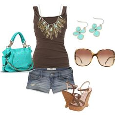 Brown and turquoise style