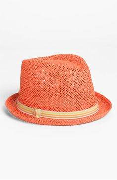 orange fedora in twisted paper toyo straw #millinery #judithm #hats