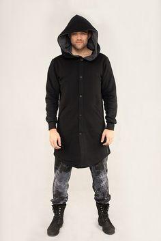 Ciepły bluzo-płaszcz ROBIN MEN / men's coat black ROBIN MEN