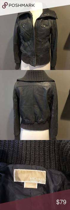 Michael Kors Leather Jacket Michael Kors Gray leather jacket with knit collar and cuffs. In good condition with a few scuffs here and there. See last pic of elbow. Michael Kors Jackets & Coats Utility Jackets