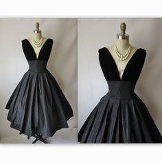 50's Cocktail Dress // Vintage 1950's Black Taffeta Full New Look Full Cocktail Party Dress S. $142.00, via Etsy.
