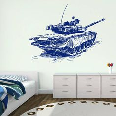 ik724 Wall Decal Sticker Military Tank US Army special weapons squad children's