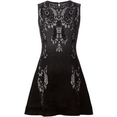 Roberto Cavalli Intarsia Print Skater Dress (39,665 THB) ❤ liked on Polyvore featuring dresses, short dresses, black, mini dress, roberto cavalli, short black dresses, black dress and skater dress