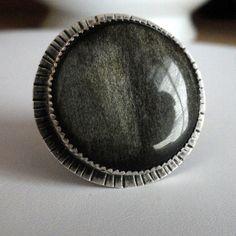 Golden Obsidian Ring  Silver  Sunburst Ring  Extra by LilyCobra, $125.00
