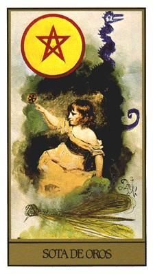 Page of Coins - Dali Universal Tarot by Juan Llarch, Salvador Dali