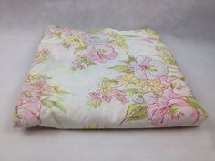 VTG Full Flat Pequot Pink Green Floral Flower Retro Bed Sheet Cutter Fabric 60s #PequotEasyCare