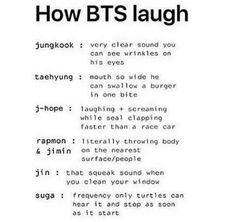 How BTS laugh. Jimin laughs like a cleaning a window sounds too lol