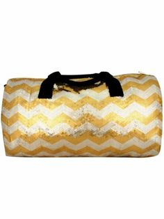 Gold Sequined Chevron Duffle Bag #chevron #bling #sequin