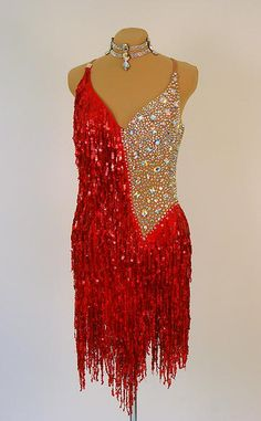 Latin and Rhythm Ballroom Dresses - maybe with navy or dark purple rather than red Ballroom Costumes, Latin Ballroom Dresses, Ballroom Dance Dresses, Dance Costumes, Ballroom Dancing, Salsa Dress, Salsa Dancing, Dance Fashion, Skating Dresses