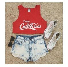 top coca cola red white stone wash denim jeans fashion converse sunglasses crop tops