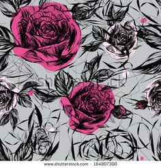 Seamless black-and-white pattern with pink roses / Japanese floral calligraphy