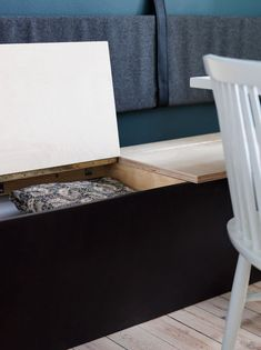 Create practical storage in your dining area with a bench with smart storage under the seats. Dining Bench With Storage, Dining Room Storage, Built In Furniture, Cheap Furniture, Dining Sofa, Diy Couch, Decorating On A Budget, Home Living Room, A Table