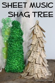 Sheet Music Shag Tree: view a LIVE video tutorial from THE COUNTRY CHIC COTTAGE (DIY, Home Decor, Crafts, Farmhouse) to learn how to make these tabletop trees for Christmas.