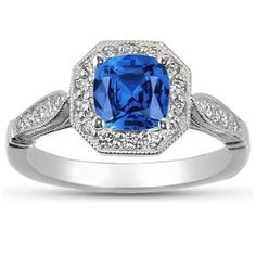 18K White Gold Sapphire Victorian Halo Ring from Brilliant Earth