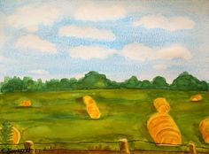 Clouds and blue sky linger above this field of hay bales in this original watercolor painting by Candice Shenefelt.