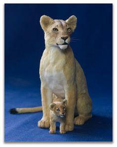 needle felted lion & cub