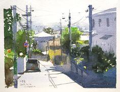 Japan Watercolor, Water Art, Drawings, Watercolor Paintings, Painting, Art, Art Reference, Watercolor Landscape, Street View