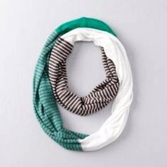 LOFT COLORBLOCK INFINITY SCARF NWT, Color: White, Brown, Green. LOFT Accessories Scarves & Wraps