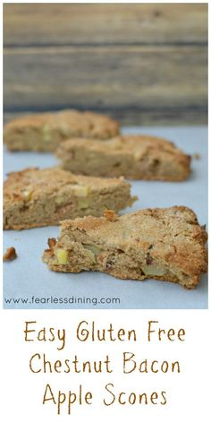 Easy gluten free chestnut bacon apple scones are a delicious snack for fall. Full of roasted chestnut flavor. Recipe at http://www.fearlessdining.com