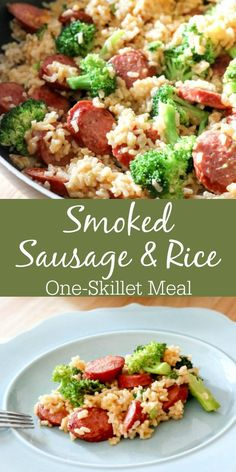 This quick & easy Smoked Sausage & Rice One Skillet Meal Recipe can be made . - This quick & easy Smoked Sausage & Rice One Skillet Meal Recipe can be made in under 30 minutes and promises to be a hit around your dinner table! Diner Recipes, Breakfast Recipes, Cooking Recipes, Breakfast Hash, Cooking Games, Kalbasa Recipes, Breakfast Gravy, Cooking Ribs, Dining