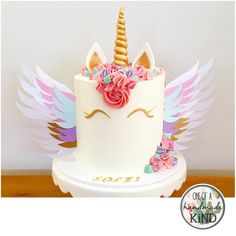 "42 Likes, 3 Comments - Cards, Cake Toppers & Confetti (@oneofahandmadekind) on Instagram: ""Repost from @cakesatnumber5! An awesome unicorn cake with @oneofahandmadekind unicorn wings! They…"""