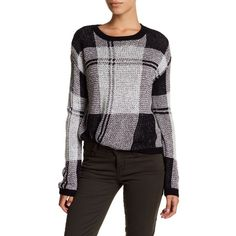 Melrose and Market Shrunken Plaid Pullover (Regular & Petite) ($30) ❤ liked on Polyvore featuring tops, sweaters, black combo, petite, knit sweater, petite tops, pullover sweater, crew neck pullover sweater and long sleeve crew neck sweater