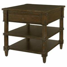"""A timeless addition to your living room or den, this beautiful 1-drawer side table showcases a distressed dark pier finish and 2 lower display shelves.   Product: End tableConstruction Material: WoodColor: Dark pierFeatures:  Two shelvesOne drawerCompass inspired hardware   Dimensions: 28"""" H x 25"""" W x 25"""" D"""