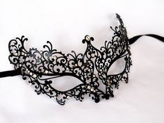 laser cut metal masquerade black lace mask by Stefanelbeadwork